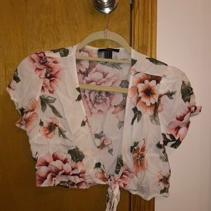Floral cropped wrap or tie blouse
